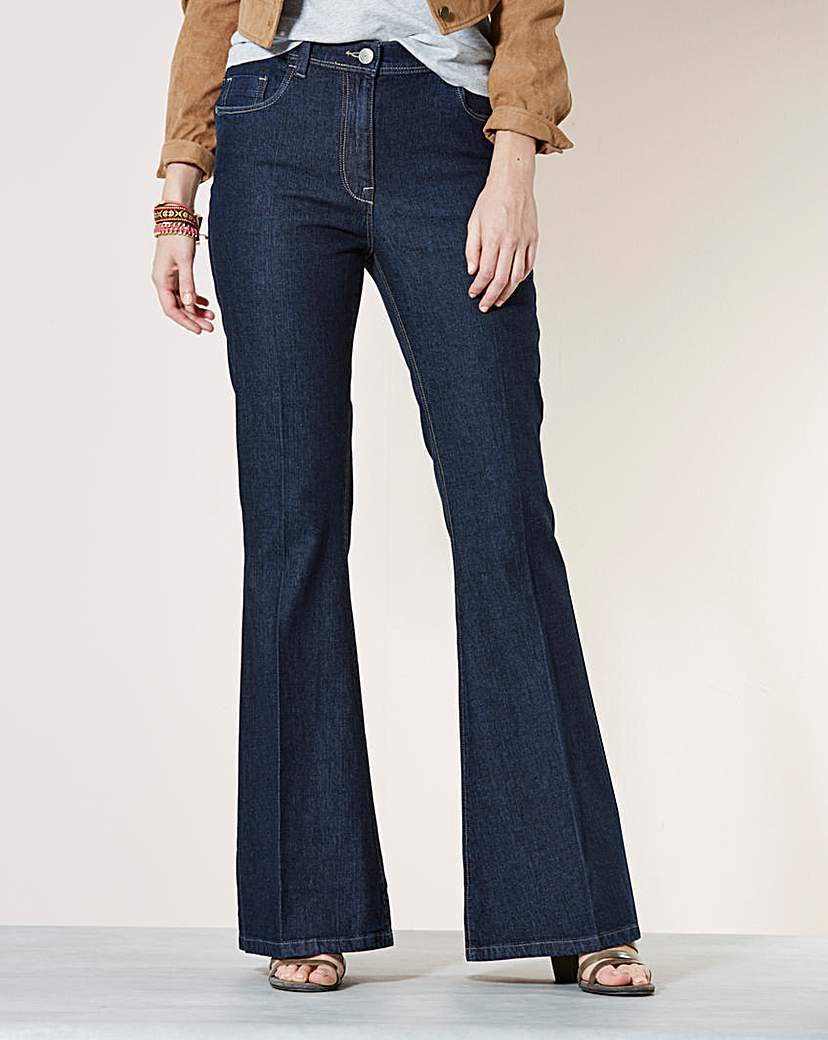 Kick Flare Jeans Long - style: flares; length: standard; pattern: plain; pocket detail: traditional 5 pocket; waist: mid/regular rise; predominant colour: navy; occasions: casual; fibres: cotton - stretch; texture group: denim; pattern type: fabric; season: a/w 2015; wardrobe: basic