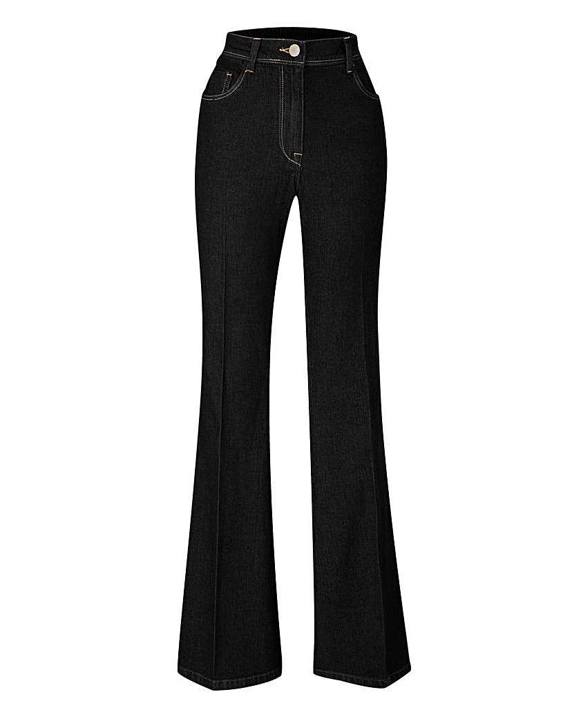 Kick Flare Jeans Long - style: flares; length: standard; pattern: plain; waist: high rise; pocket detail: traditional 5 pocket; predominant colour: black; occasions: casual; fibres: cotton - stretch; texture group: denim; pattern type: fabric; season: a/w 2015; wardrobe: basic