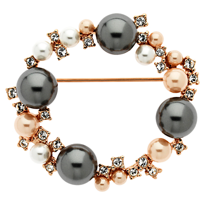Swarovski Crystal And Pearl Ring Brooch - predominant colour: gold; occasions: evening, occasion; style: classic; size: standard; material: chain/metal; finish: metallic; embellishment: beading; secondary colour: pewter; season: s/s 2016