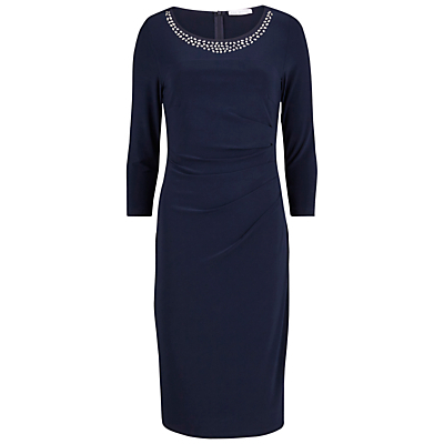 Bead Neck Jersey Dress, Spring Navy - style: shift; neckline: round neck; fit: tailored/fitted; pattern: plain; bust detail: added detail/embellishment at bust; predominant colour: navy; length: on the knee; fibres: polyester/polyamide - stretch; occasions: occasion; sleeve length: 3/4 length; sleeve style: standard; pattern type: fabric; texture group: jersey - stretchy/drapey; embellishment: beading; season: s/s 2016; wardrobe: event