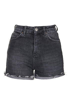 Moto Black Ecru Girlfriend Shorts - pattern: plain; waist: high rise; pocket detail: traditional 5 pocket; predominant colour: charcoal; occasions: casual; fibres: cotton - 100%; waist detail: narrow waistband; texture group: denim; pattern type: fabric; season: s/s 2016; wardrobe: basic; style: denim; length: mid thigh shorts; fit: slim leg