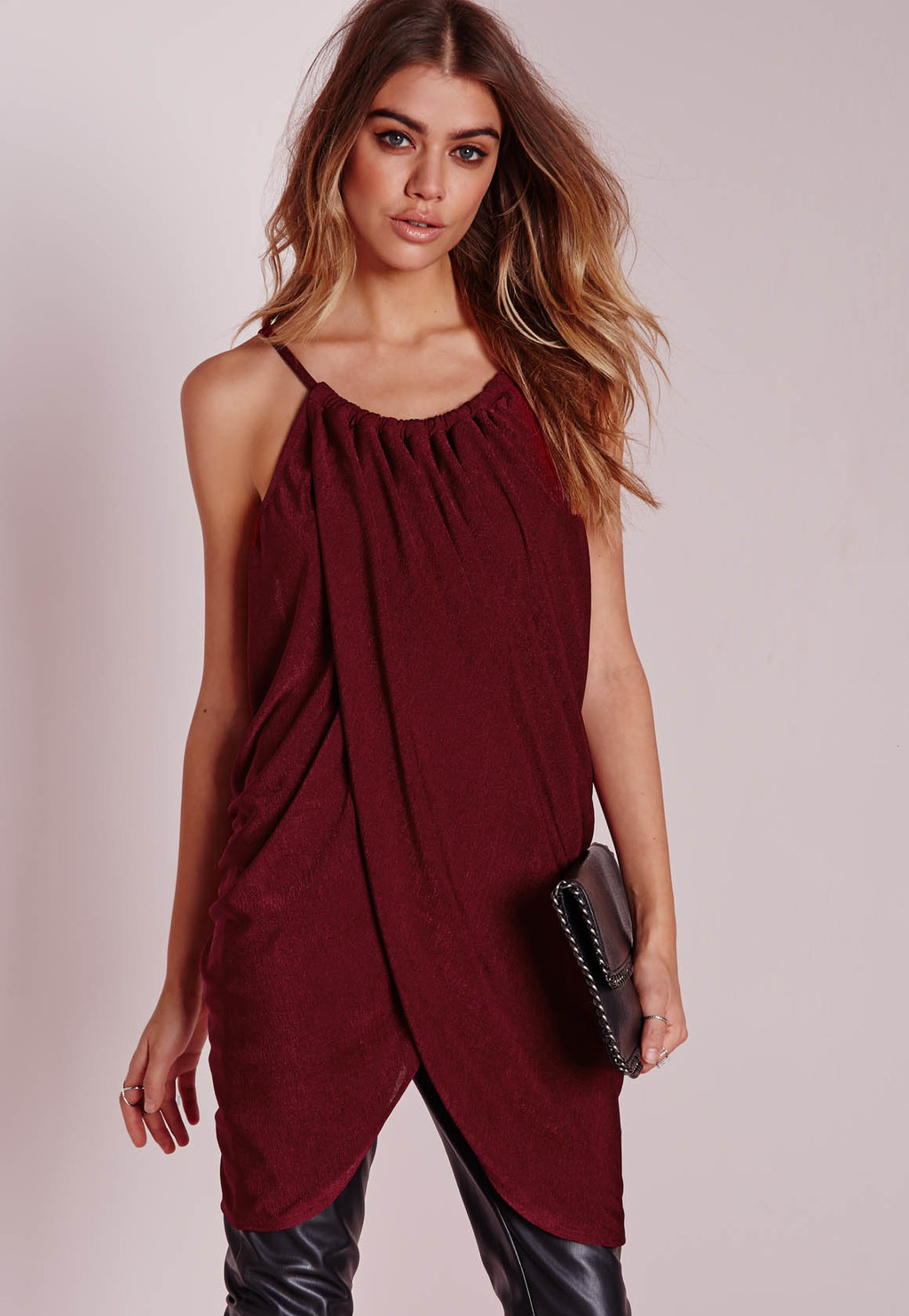 Gather Wrap Longline Cami Burgundy, Burgundy - pattern: plain; sleeve style: sleeveless; length: below the bottom; style: vest top; predominant colour: burgundy; occasions: casual; neckline: scoop; fibres: polyester/polyamide - stretch; fit: body skimming; sleeve length: sleeveless; pattern type: fabric; texture group: jersey - stretchy/drapey; season: s/s 2016; wardrobe: highlight