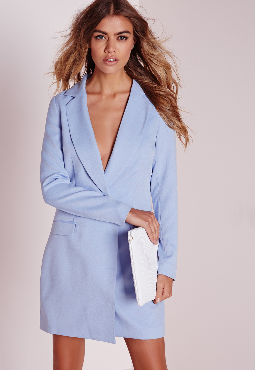 Long Sleeve Blazer Dress Powder Blue, Blue - style: shirt; length: mid thigh; neckline: v-neck; pattern: plain; predominant colour: pale blue; occasions: evening, creative work; fit: body skimming; fibres: polyester/polyamide - 100%; hip detail: subtle/flattering hip detail; sleeve length: long sleeve; sleeve style: standard; texture group: crepes; pattern type: fabric; season: s/s 2016; wardrobe: highlight