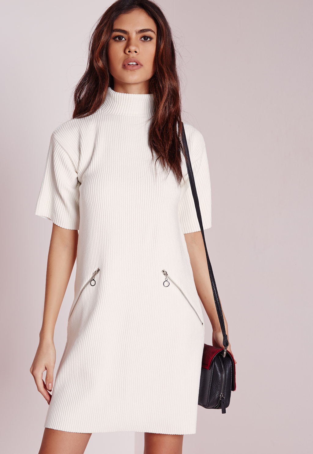 Short Sleeve High Neck Rib Shift Dress White, Ivory - style: shift; length: mid thigh; pattern: plain; neckline: high neck; hip detail: front pockets at hip; predominant colour: ivory/cream; occasions: evening; fit: body skimming; fibres: polyester/polyamide - 100%; sleeve length: short sleeve; sleeve style: standard; pattern type: fabric; texture group: other - light to midweight; embellishment: zips; season: s/s 2016; wardrobe: event