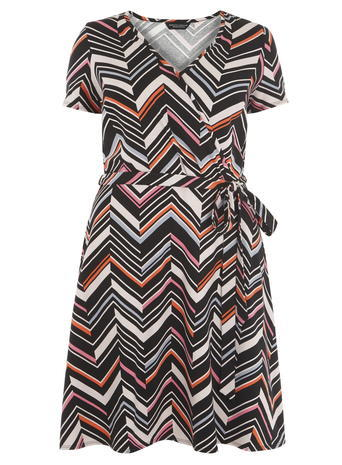 Womens **Dp Curve Black And Pink Printed Wrap Dress Pink - style: faux wrap/wrap; neckline: v-neck; predominant colour: bright orange; secondary colour: light grey; occasions: casual; length: on the knee; fit: soft a-line; fibres: viscose/rayon - stretch; sleeve length: short sleeve; sleeve style: standard; pattern type: fabric; pattern: patterned/print; texture group: jersey - stretchy/drapey; season: s/s 2016; wardrobe: highlight