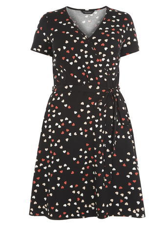 Womens **Dp Curve Black And Red Heart Printed Wrap Dress Red - style: faux wrap/wrap; neckline: v-neck; secondary colour: white; predominant colour: black; occasions: casual, creative work; length: just above the knee; fit: fitted at waist & bust; fibres: cotton - stretch; sleeve length: short sleeve; sleeve style: standard; pattern type: fabric; pattern size: light/subtle; pattern: patterned/print; texture group: jersey - stretchy/drapey; multicoloured: multicoloured; season: s/s 2016