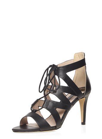 Womens Black 'sunrise' Lace Up Sandal Black - predominant colour: black; occasions: evening; material: faux leather; heel height: high; ankle detail: ankle tie; heel: stiletto; toe: open toe/peeptoe; style: strappy; finish: plain; pattern: plain; season: s/s 2016; wardrobe: event