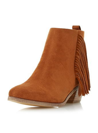 Womens **Head Over Heels Tan Pointed Ankle Boots Black - predominant colour: tan; occasions: casual; heel height: mid; heel: standard; toe: round toe; boot length: ankle boot; style: standard; finish: plain; pattern: plain; embellishment: fringing; material: faux suede; season: s/s 2016; wardrobe: highlight