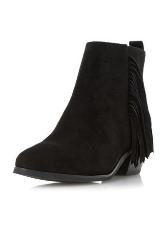 Womens **Head Over Heels Black Pointed Fringed Boots Black - predominant colour: black; occasions: casual, creative work; heel height: mid; heel: block; toe: round toe; boot length: ankle boot; style: standard; finish: plain; pattern: plain; embellishment: fringing; material: faux suede; season: s/s 2016; wardrobe: highlight