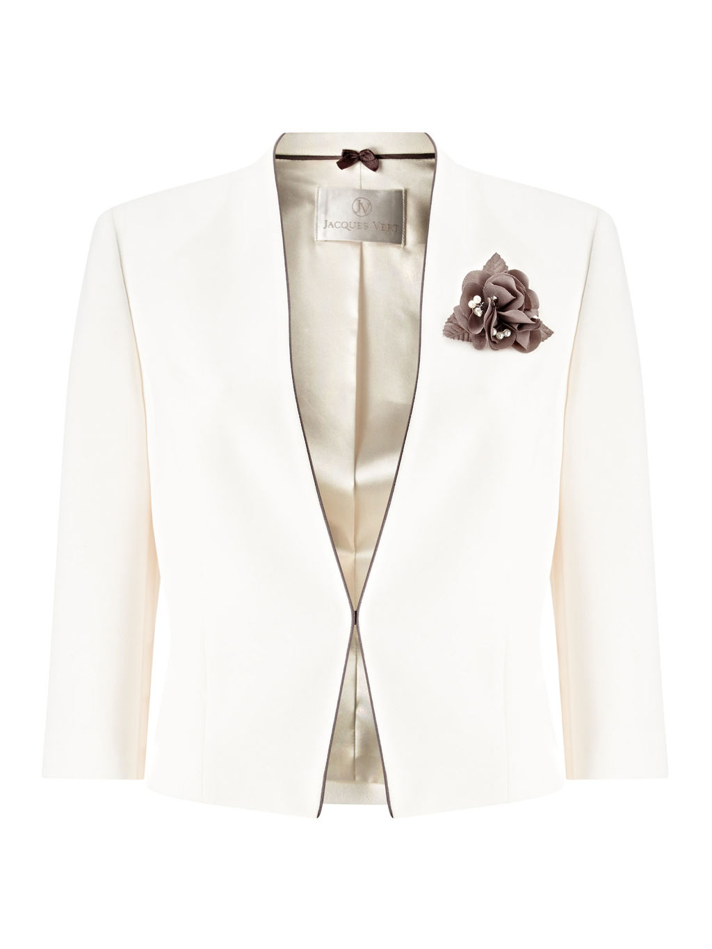 Contrast Binding Crepe Jacket, Ivory - pattern: plain; style: single breasted blazer; collar: round collar/collarless; predominant colour: ivory/cream; secondary colour: taupe; length: standard; fit: tailored/fitted; fibres: polyester/polyamide - 100%; occasions: occasion; sleeve length: 3/4 length; sleeve style: standard; texture group: crepes; collar break: medium; pattern type: fabric; embellishment: corsage; season: s/s 2016; wardrobe: event