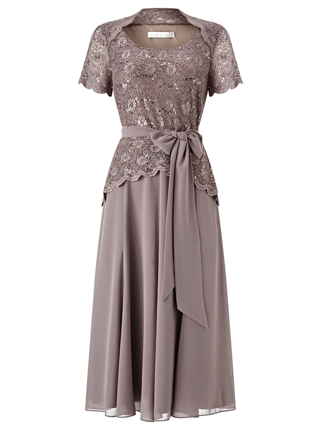 Lace Bodice Chiffon Dress, Brown - style: a-line; length: below the knee; neckline: round neck; pattern: plain; waist detail: belted waist/tie at waist/drawstring; predominant colour: charcoal; fit: fitted at waist & bust; fibres: polyester/polyamide - stretch; occasions: occasion; sleeve length: short sleeve; sleeve style: standard; texture group: sheer fabrics/chiffon/organza etc.; pattern type: fabric; embellishment: lace; season: s/s 2016