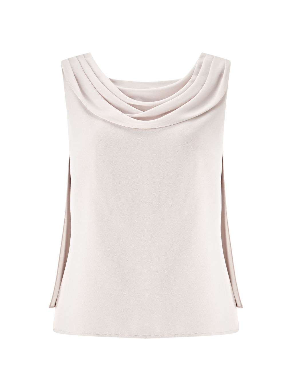 Drape Crepe Top, Soft Grey - neckline: cowl/draped neck; pattern: plain; sleeve style: sleeveless; predominant colour: stone; occasions: evening, occasion; length: standard; style: top; fibres: polyester/polyamide - 100%; fit: body skimming; sleeve length: sleeveless; texture group: crepes; pattern type: fabric; season: s/s 2016; wardrobe: event