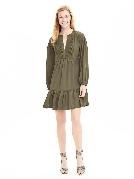 Drop Waist Shirtdress Tigers Eye Green - style: smock; length: mid thigh; neckline: v-neck; pattern: plain; predominant colour: khaki; occasions: casual, creative work; fit: soft a-line; fibres: polyester/polyamide - 100%; sleeve length: long sleeve; sleeve style: standard; texture group: cotton feel fabrics; pattern type: fabric; season: s/s 2016; wardrobe: basic