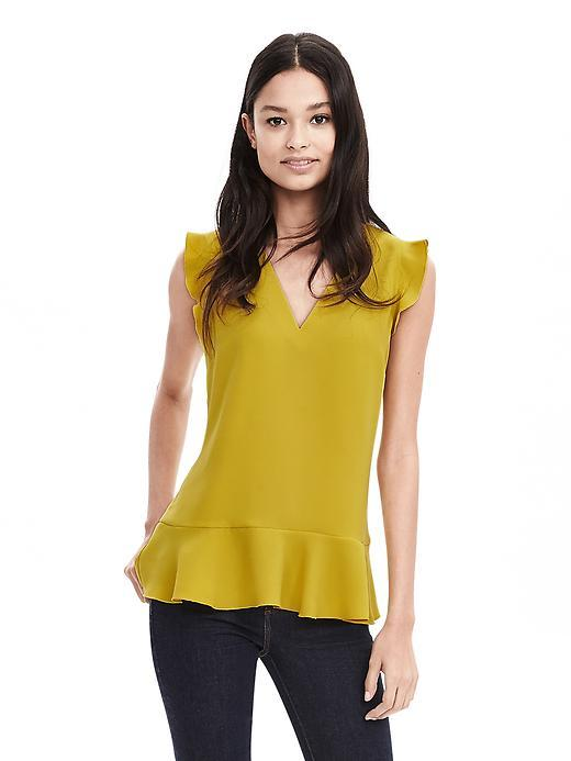 V Neck Ruffle Tank Bright Celery - neckline: v-neck; pattern: plain; sleeve style: sleeveless; predominant colour: mustard; occasions: work, creative work; length: standard; style: top; fibres: polyester/polyamide - 100%; fit: body skimming; hip detail: adds bulk at the hips; sleeve length: sleeveless; texture group: sheer fabrics/chiffon/organza etc.; pattern type: fabric; season: s/s 2016; wardrobe: highlight