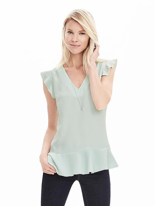 V Neck Ruffle Tank Antarctic Blue - neckline: v-neck; sleeve style: capped; pattern: plain; predominant colour: pistachio; occasions: casual, work, creative work; length: standard; style: top; fibres: polyester/polyamide - 100%; fit: body skimming; hip detail: adds bulk at the hips; sleeve length: sleeveless; texture group: sheer fabrics/chiffon/organza etc.; pattern type: fabric; season: s/s 2016; wardrobe: highlight