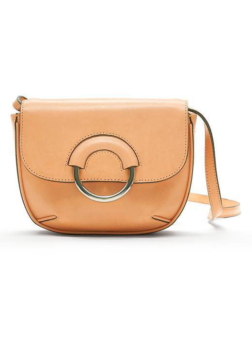 Italian Vachetta Mini Saddle Bag Natural - predominant colour: camel; occasions: casual, creative work; type of pattern: standard; style: saddle; length: across body/long; size: small; material: leather; pattern: plain; finish: plain; season: s/s 2016; wardrobe: basic