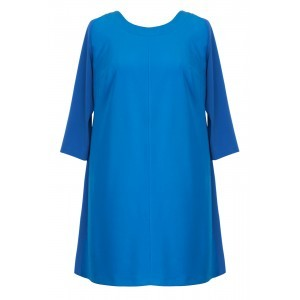Tailoring Georgette Plain Tunic - pattern: plain; length: below the bottom; style: tunic; predominant colour: diva blue; occasions: casual; fibres: polyester/polyamide - 100%; fit: straight cut; neckline: crew; sleeve length: 3/4 length; sleeve style: standard; texture group: crepes; pattern type: fabric; season: s/s 2016; wardrobe: highlight