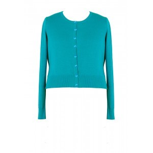 Knitted Round Neck Cardigan - neckline: round neck; pattern: plain; predominant colour: turquoise; occasions: casual; length: standard; style: standard; fit: slim fit; sleeve length: long sleeve; sleeve style: standard; texture group: knits/crochet; pattern type: fabric; fibres: viscose/rayon - mix; season: s/s 2016; wardrobe: highlight