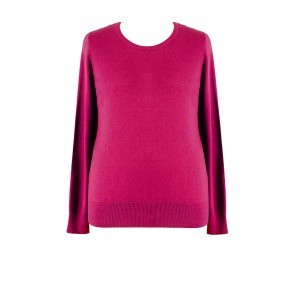 Knitted Two Way Jumper - pattern: plain; style: standard; predominant colour: magenta; occasions: casual, creative work; length: standard; fibres: cotton - mix; fit: standard fit; neckline: crew; sleeve length: long sleeve; sleeve style: standard; texture group: knits/crochet; pattern type: knitted - fine stitch; season: s/s 2016; wardrobe: highlight