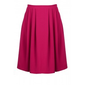 Tailoring Crepe Skater Skirt - pattern: plain; style: full/prom skirt; fit: loose/voluminous; waist detail: fitted waist; waist: mid/regular rise; predominant colour: hot pink; occasions: casual, creative work; length: just above the knee; fibres: polyester/polyamide - mix; hip detail: soft pleats at hip/draping at hip/flared at hip; texture group: crepes; pattern type: fabric; season: s/s 2016