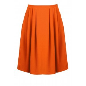 Tailoring Crepe Skater Skirt - pattern: plain; style: full/prom skirt; fit: loose/voluminous; waist: mid/regular rise; predominant colour: bright orange; occasions: casual, creative work; length: just above the knee; fibres: polyester/polyamide - stretch; hip detail: subtle/flattering hip detail; texture group: crepes; pattern type: fabric; season: s/s 2016; wardrobe: highlight
