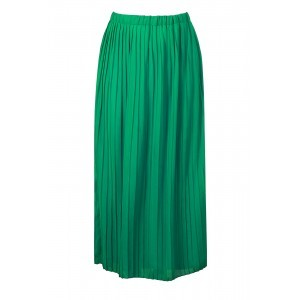 Georgette Pleat Maxi Skirt - pattern: plain; fit: loose/voluminous; waist: high rise; predominant colour: emerald green; occasions: casual, creative work; length: floor length; style: maxi skirt; fibres: polyester/polyamide - 100%; hip detail: subtle/flattering hip detail; waist detail: feature waist detail; texture group: sheer fabrics/chiffon/organza etc.; pattern type: fabric; season: s/s 2016; wardrobe: highlight