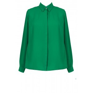 Crepe De Chine Contrast Shirt - neckline: shirt collar/peter pan/zip with opening; pattern: plain; style: shirt; predominant colour: emerald green; occasions: casual, creative work; length: standard; fibres: polyester/polyamide - 100%; fit: straight cut; sleeve length: long sleeve; sleeve style: standard; texture group: crepes; pattern type: fabric; season: s/s 2016; wardrobe: highlight