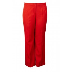 Tailoring Trousers - pattern: plain; waist: mid/regular rise; predominant colour: bright orange; length: calf length; fibres: polyester/polyamide - stretch; texture group: crepes; fit: straight leg; pattern type: fabric; style: standard; occasions: creative work; season: s/s 2016; wardrobe: highlight