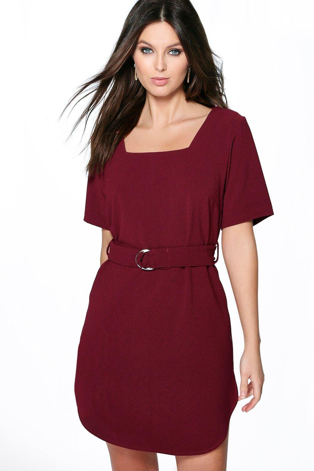 Buckle Detail Curved Hem Shift Dress Teal - style: shift; length: mid thigh; pattern: plain; waist detail: belted waist/tie at waist/drawstring; predominant colour: burgundy; fit: body skimming; fibres: polyester/polyamide - 100%; sleeve length: short sleeve; sleeve style: standard; neckline: medium square neck; pattern type: fabric; texture group: other - light to midweight; occasions: creative work; season: s/s 2016