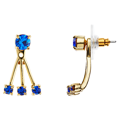 12ct Gold Plated Glass Stone Delicate Drop Earrings - secondary colour: royal blue; predominant colour: gold; occasions: evening; style: drop; length: mid; size: standard; material: chain/metal; fastening: pierced; finish: metallic; embellishment: jewels/stone; season: s/s 2016; wardrobe: event
