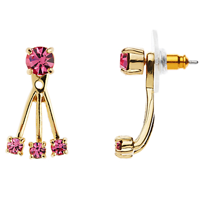 12ct Gold Plated Glass Stone Delicate Drop Earrings - secondary colour: hot pink; predominant colour: gold; occasions: evening; style: drop; length: mid; size: standard; material: chain/metal; fastening: pierced; finish: metallic; embellishment: jewels/stone; season: s/s 2016; wardrobe: event
