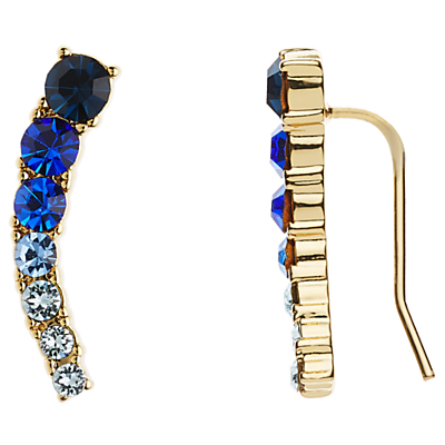 12ct Gold Plated Glass Stone Ear Pin Drop Earrings - predominant colour: royal blue; secondary colour: black; occasions: evening, occasion; style: drop; length: mid; size: small/fine; material: chain/metal; fastening: pierced; finish: metallic; embellishment: jewels/stone; season: s/s 2016; wardrobe: event