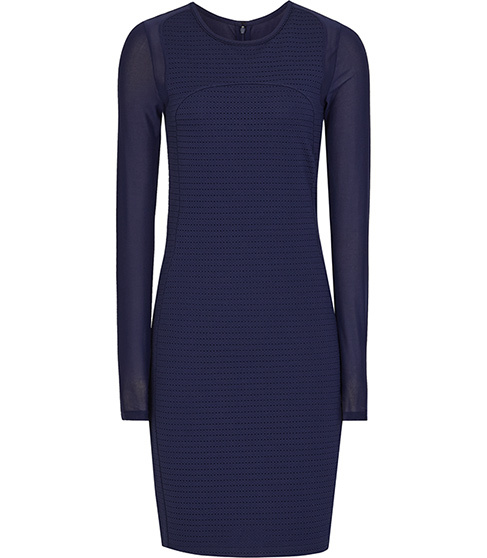 Rita Sheer Sleeve Bodycon Dress - fit: tight; pattern: plain; style: bodycon; predominant colour: navy; occasions: evening; length: just above the knee; fibres: polyester/polyamide - mix; neckline: crew; sleeve length: long sleeve; sleeve style: standard; pattern type: fabric; texture group: other - light to midweight; season: s/s 2016; wardrobe: event