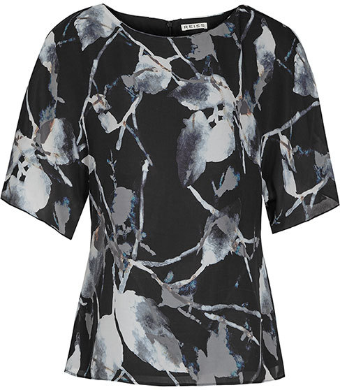 Lia Printed Top - secondary colour: light grey; predominant colour: black; occasions: casual; length: standard; style: top; fibres: polyester/polyamide - 100%; fit: body skimming; neckline: crew; sleeve length: short sleeve; sleeve style: standard; pattern type: fabric; pattern size: standard; pattern: florals; texture group: other - light to midweight; multicoloured: multicoloured; season: s/s 2016; wardrobe: highlight