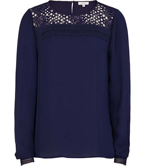 Tilly Lace Detail Top - pattern: plain; style: blouse; predominant colour: navy; occasions: casual; length: standard; fibres: polyester/polyamide - 100%; fit: body skimming; neckline: crew; sleeve length: long sleeve; sleeve style: standard; texture group: sheer fabrics/chiffon/organza etc.; pattern type: fabric; season: s/s 2016; wardrobe: highlight; embellishment: contrast fabric; embellishment location: shoulder