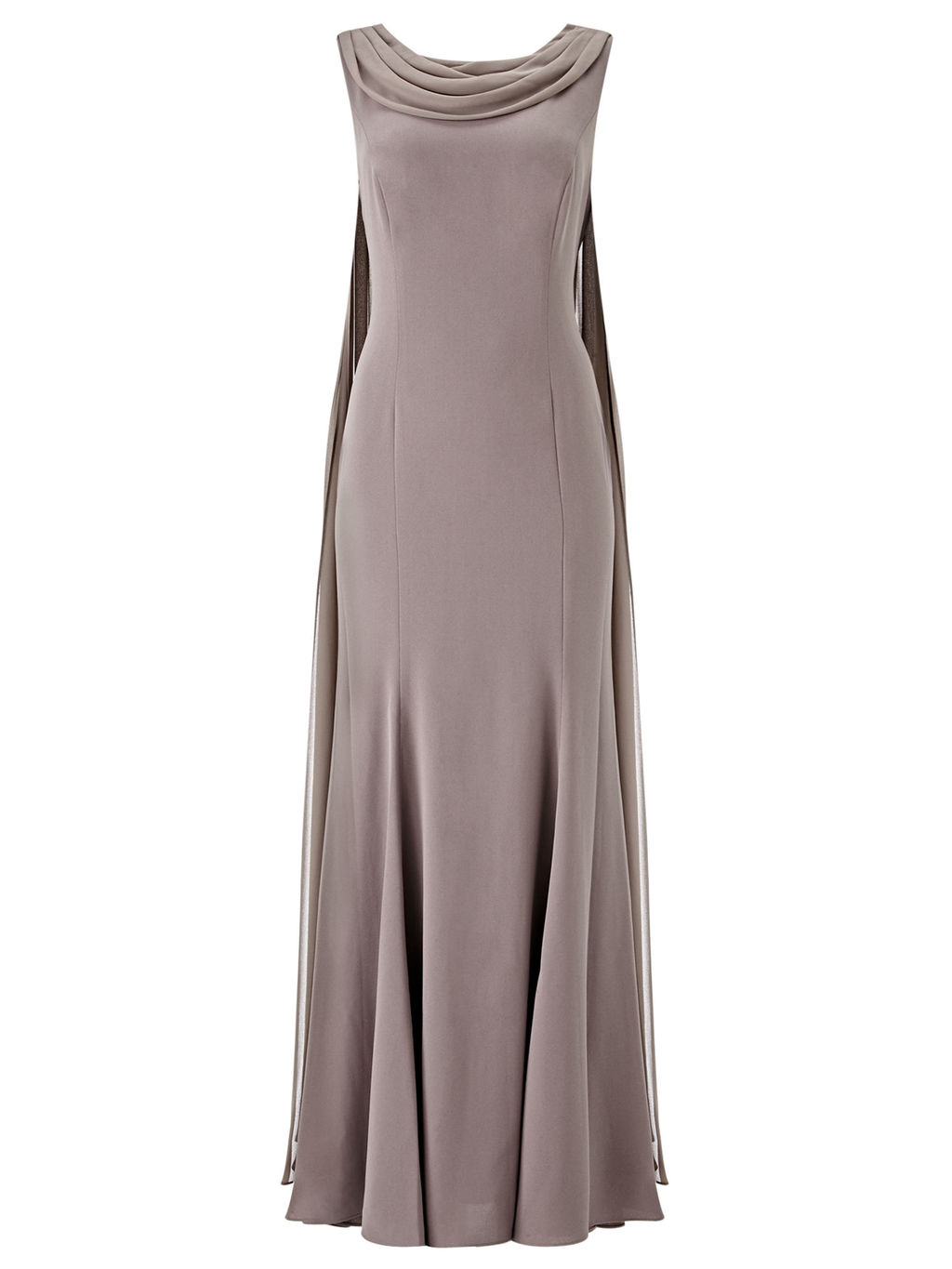 Drape Cape Maxi Dress - neckline: cowl/draped neck; pattern: plain; sleeve style: sleeveless; style: maxi dress; length: ankle length; back detail: back revealing; predominant colour: mid grey; fit: body skimming; fibres: polyester/polyamide - 100%; occasions: occasion; sleeve length: sleeveless; texture group: crepes; pattern type: fabric; season: s/s 2016; wardrobe: event