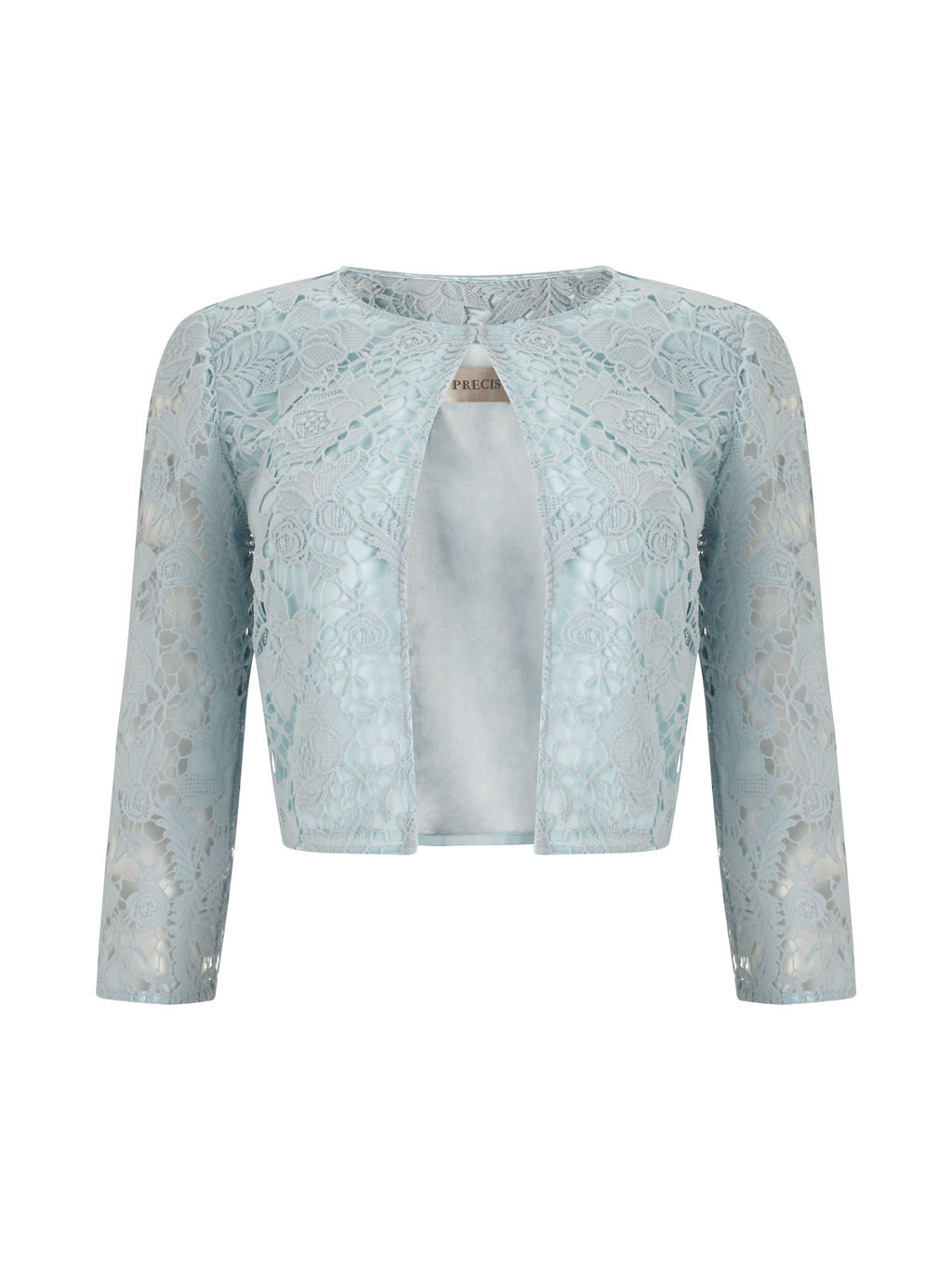 Lace Crop Jacket - style: bolero/shrug; collar: round collar/collarless; predominant colour: pale blue; fit: tailored/fitted; fibres: polyester/polyamide - 100%; occasions: occasion; sleeve length: 3/4 length; sleeve style: standard; texture group: lace; collar break: high; pattern type: fabric; pattern size: standard; pattern: patterned/print; embellishment: lace; length: cropped; season: s/s 2016; wardrobe: event