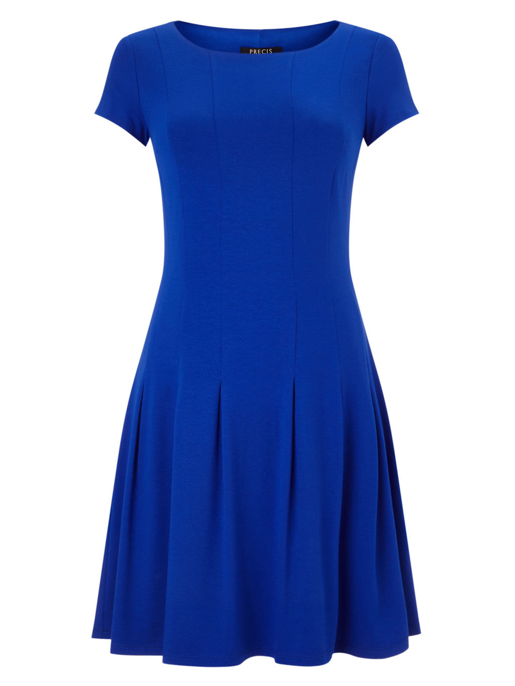 Pleated Jersey Dress - neckline: round neck; pattern: plain; predominant colour: royal blue; occasions: evening; length: on the knee; fit: fitted at waist & bust; style: fit & flare; fibres: viscose/rayon - stretch; sleeve length: short sleeve; sleeve style: standard; pattern type: fabric; texture group: jersey - stretchy/drapey; season: s/s 2016; wardrobe: event