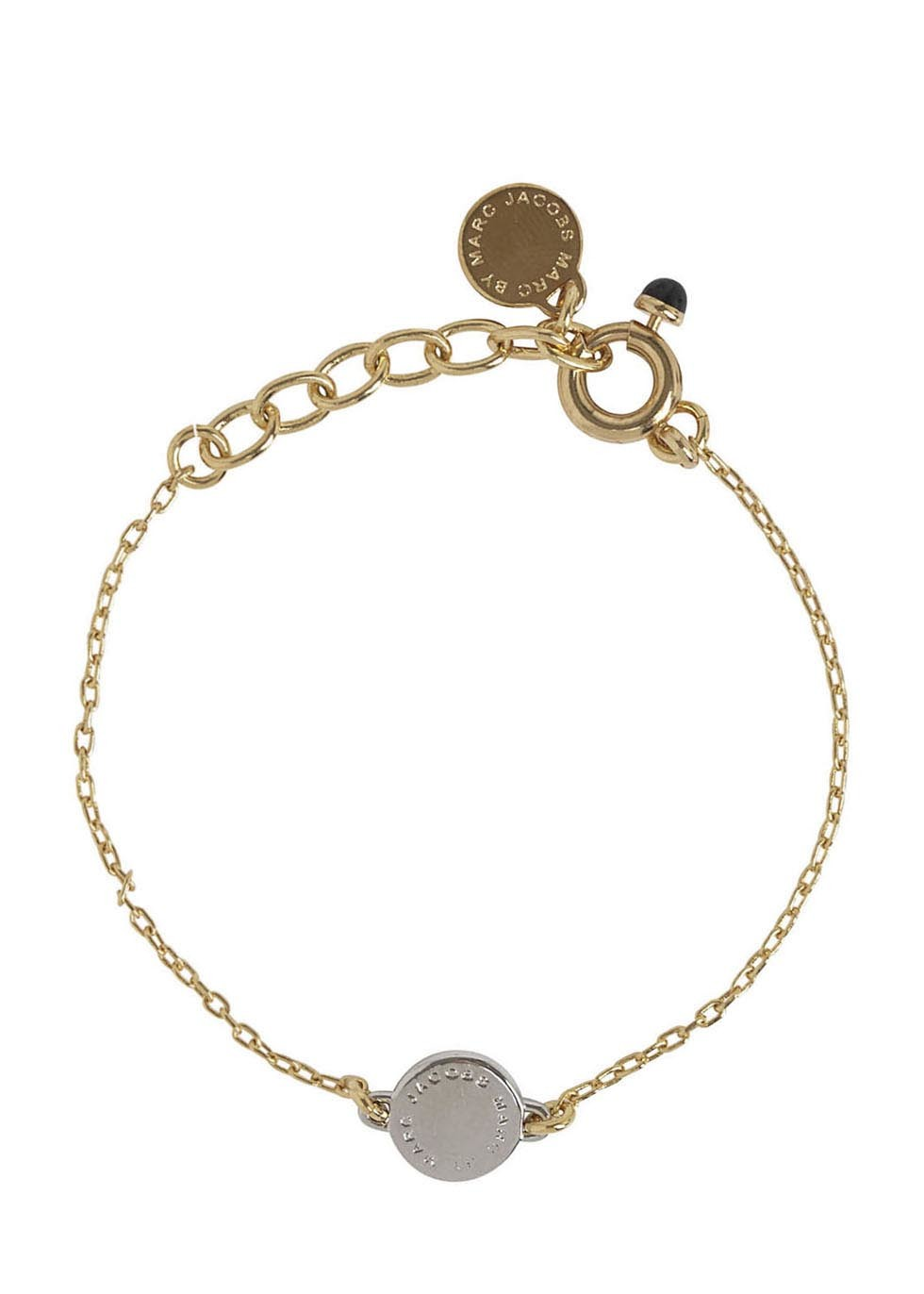 Logo Disc O Gold Tone Bracelet - secondary colour: silver; predominant colour: gold; occasions: casual, work, creative work; style: chain; size: small/fine; material: chain/metal; finish: metallic; embellishment: chain/metal; season: s/s 2016; wardrobe: basic