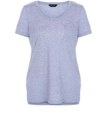 Blue Single Pocket T Shirt - neckline: round neck; pattern: plain; style: t-shirt; predominant colour: pale blue; occasions: casual; length: standard; fibres: cotton - 100%; fit: body skimming; sleeve length: short sleeve; sleeve style: standard; pattern type: fabric; texture group: jersey - stretchy/drapey; season: s/s 2016; wardrobe: highlight