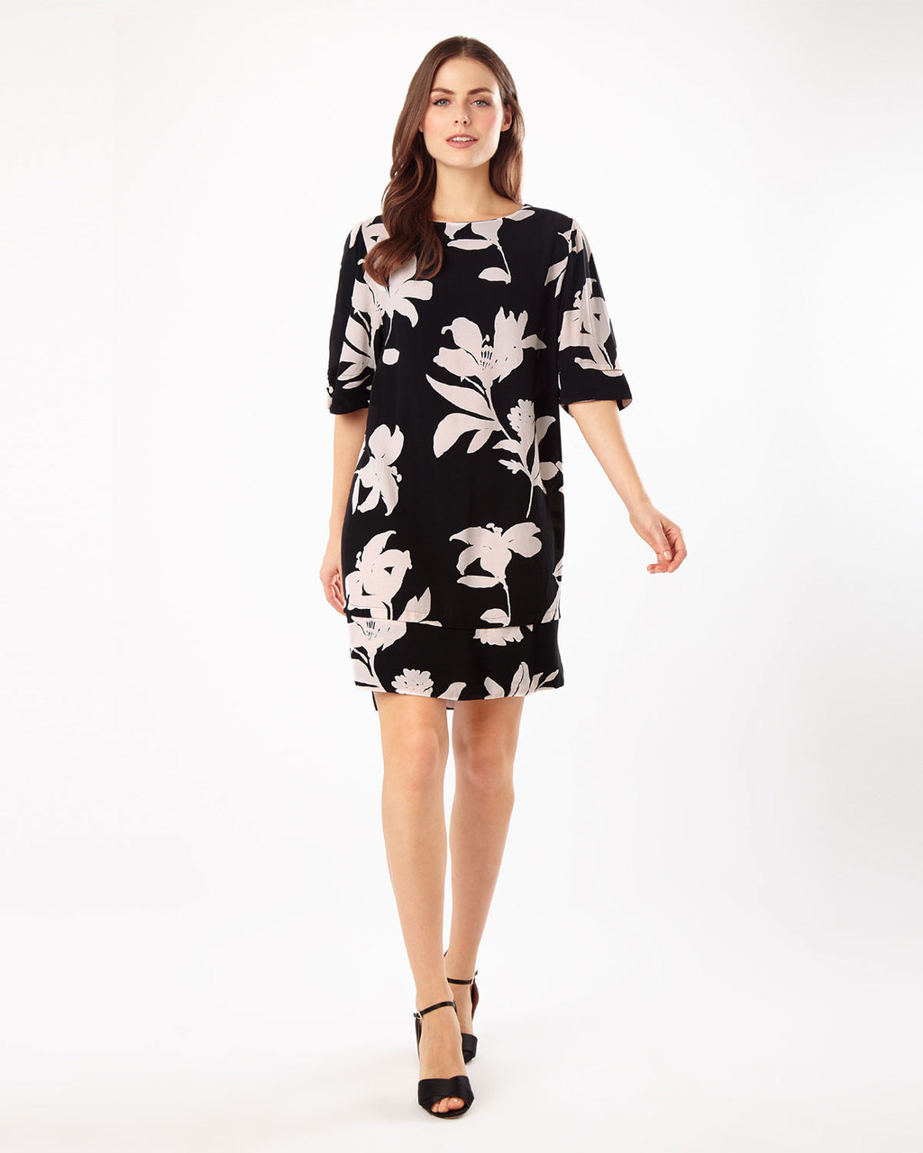 Selina Floral Swing Dress - style: tunic; length: mid thigh; neckline: round neck; sleeve style: dolman/batwing; secondary colour: blush; predominant colour: black; occasions: evening, creative work; fit: straight cut; fibres: polyester/polyamide - 100%; sleeve length: half sleeve; pattern type: fabric; pattern size: standard; pattern: florals; texture group: woven light midweight; season: s/s 2016; wardrobe: highlight
