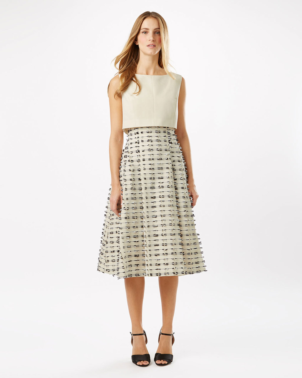 Dress Seven - length: below the knee; sleeve style: sleeveless; pattern: checked/gingham; waist detail: fitted waist; predominant colour: ivory/cream; secondary colour: mid grey; occasions: evening; fit: soft a-line; style: fit & flare; fibres: cotton - mix; neckline: crew; hip detail: soft pleats at hip/draping at hip/flared at hip; bust detail: contrast pattern/fabric/detail at bust; sleeve length: sleeveless; pattern type: fabric; pattern size: light/subtle; texture group: other - light to midweight; season: s/s 2016; wardrobe: event