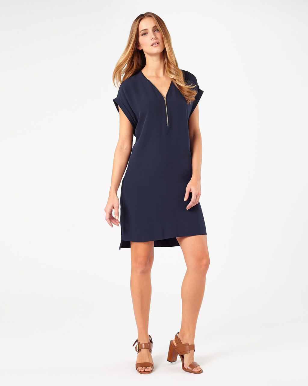 Remi Crepe Dress - style: shift; length: mid thigh; neckline: low v-neck; sleeve style: capped; pattern: plain; bust detail: buttons at bust (in middle at breastbone)/zip detail at bust; predominant colour: navy; occasions: evening, creative work; fit: straight cut; fibres: polyester/polyamide - 100%; sleeve length: short sleeve; texture group: crepes; pattern type: fabric; embellishment: zips; season: s/s 2016; wardrobe: highlight