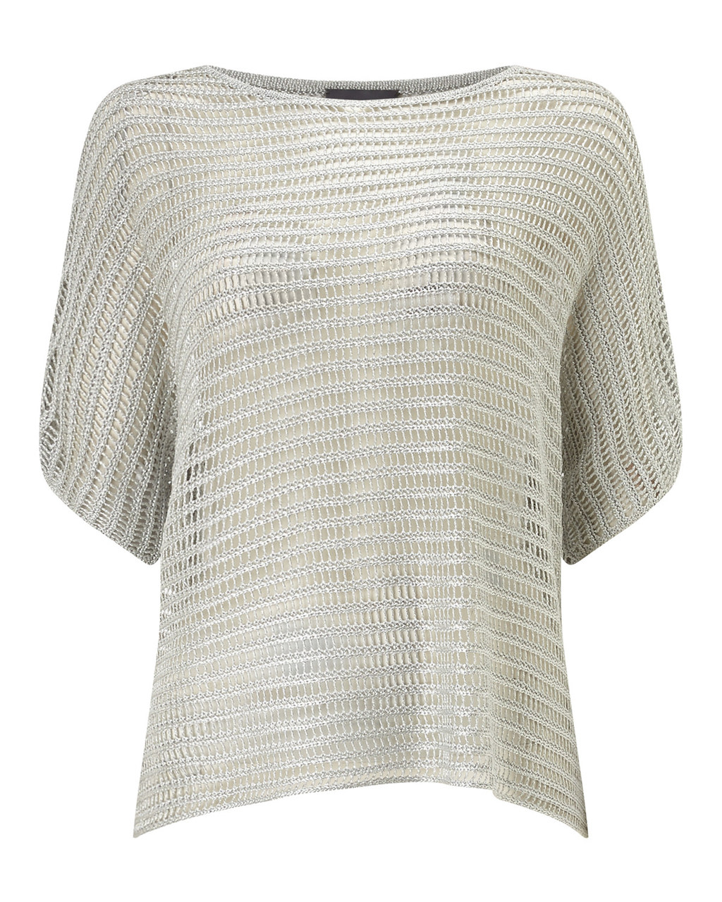 Maura Metallic Knit - neckline: slash/boat neckline; sleeve style: dolman/batwing; pattern: plain; style: standard; predominant colour: gold; occasions: casual, creative work; length: standard; fibres: viscose/rayon - stretch; fit: loose; sleeve length: short sleeve; texture group: knits/crochet; pattern type: knitted - fine stitch; season: s/s 2016