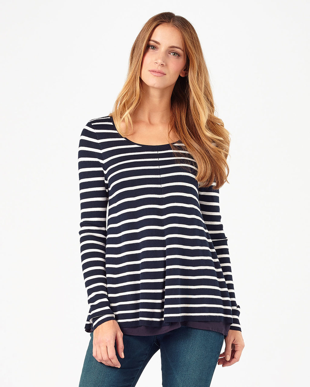 Cali Anne Stripe Knit - neckline: round neck; pattern: horizontal stripes; length: below the bottom; style: standard; secondary colour: white; predominant colour: navy; occasions: casual, creative work; fit: standard fit; sleeve length: long sleeve; sleeve style: standard; texture group: knits/crochet; pattern type: knitted - other; pattern size: light/subtle; fibres: viscose/rayon - mix; season: s/s 2016; wardrobe: highlight