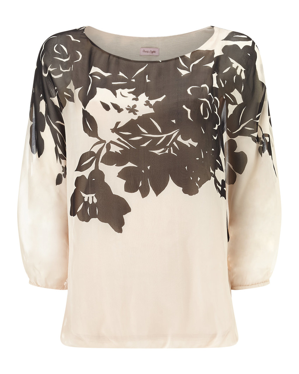 Ashlyn Oversized Silk Blouse - neckline: round neck; style: blouse; predominant colour: ivory/cream; secondary colour: chocolate brown; occasions: work, occasion; length: standard; fibres: silk - 100%; fit: body skimming; sleeve length: 3/4 length; sleeve style: standard; texture group: silky - light; pattern type: fabric; pattern size: standard; pattern: florals; season: s/s 2016