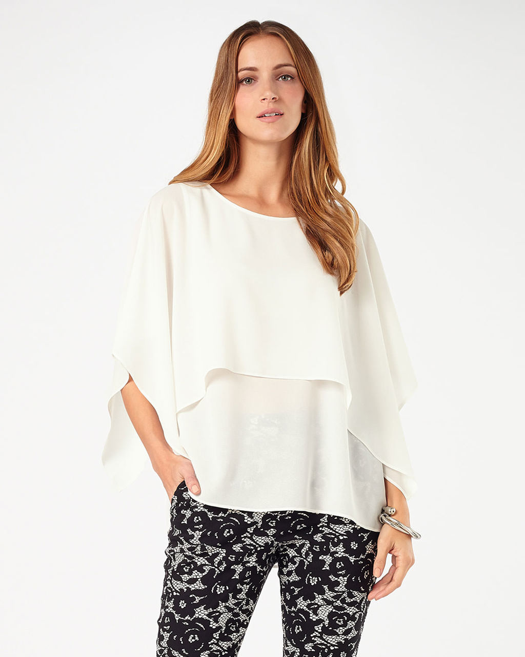 Kalila Cape Sleeve Blouse - neckline: round neck; sleeve style: angel/waterfall; pattern: plain; style: blouse; predominant colour: ivory/cream; occasions: work, creative work; length: standard; fibres: polyester/polyamide - 100%; fit: loose; sleeve length: 3/4 length; texture group: crepes; pattern type: fabric; season: s/s 2016; wardrobe: basic
