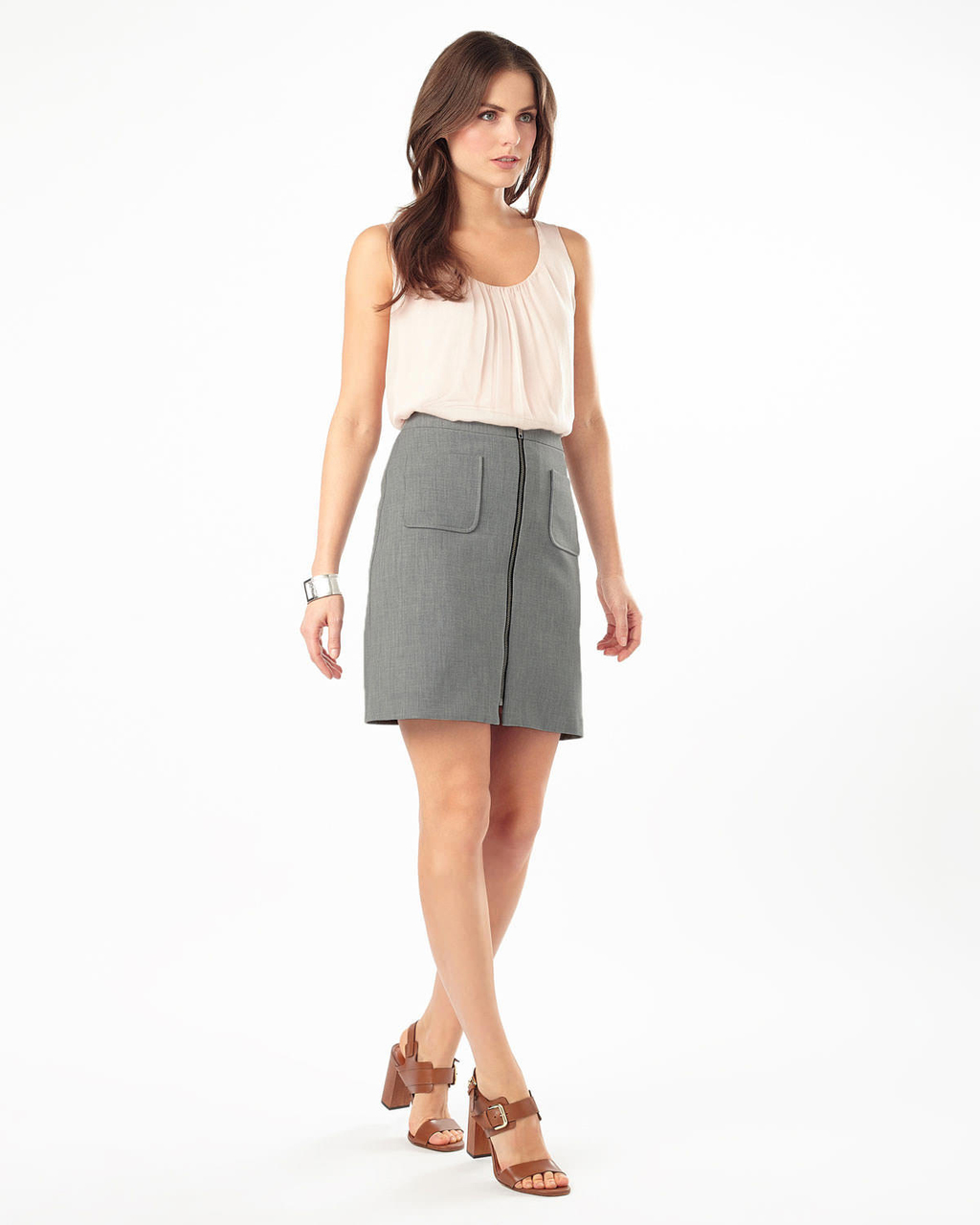 Drue Melange Skirt - pattern: plain; style: straight; hip detail: front pockets at hip; waist: high rise; predominant colour: mid grey; occasions: casual, creative work; length: just above the knee; fibres: polyester/polyamide - stretch; fit: straight cut; pattern type: fabric; texture group: other - light to midweight; season: s/s 2016