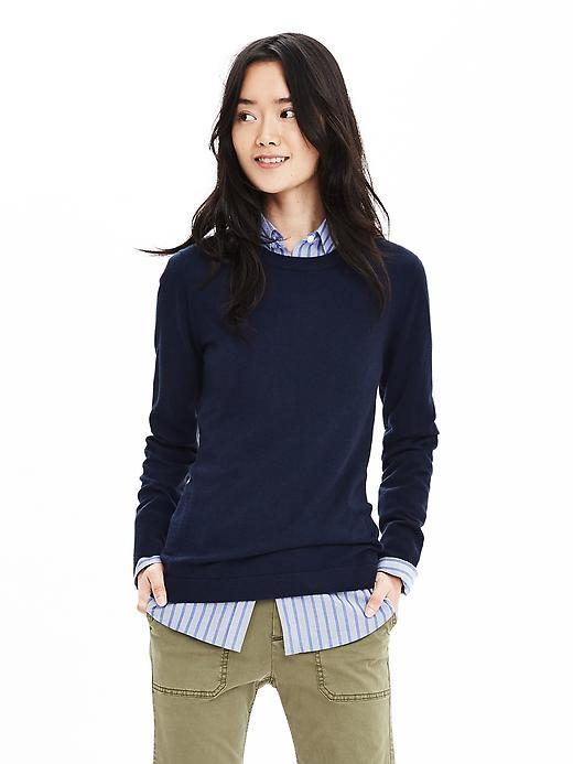 Extra Fine Merino Wool Pullover Sweater Preppy Navy - neckline: round neck; pattern: plain; style: standard; predominant colour: navy; occasions: casual, work, creative work; length: standard; fibres: wool - 100%; fit: standard fit; sleeve length: long sleeve; sleeve style: standard; texture group: knits/crochet; pattern type: knitted - fine stitch; season: s/s 2016; wardrobe: basic
