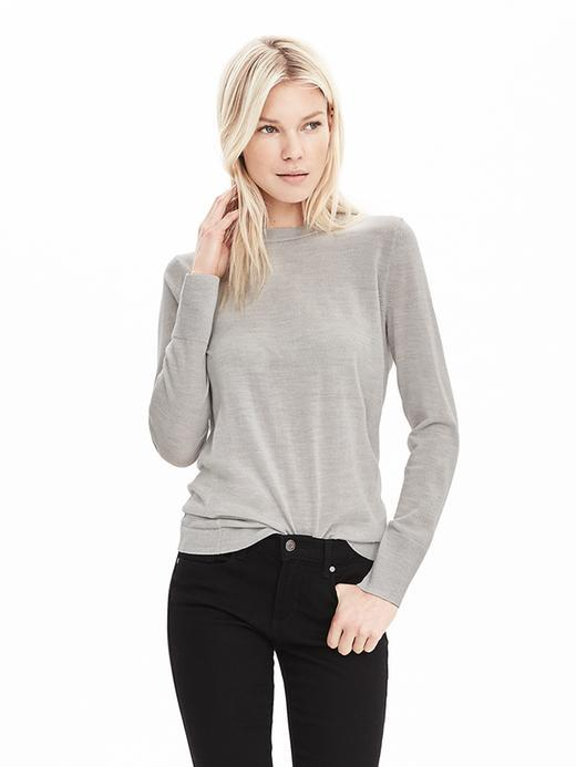 Extra Fine Merino Wool Pullover Sweater Gray - pattern: plain; style: standard; predominant colour: light grey; occasions: casual, work, creative work; length: standard; fibres: wool - 100%; fit: standard fit; neckline: crew; sleeve length: long sleeve; sleeve style: standard; texture group: knits/crochet; pattern type: knitted - fine stitch; season: s/s 2016; wardrobe: basic